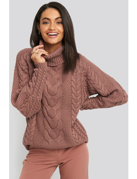 High Neck Cable Knitted Ribbed Sleeve Sweater Różowy by Na Kd Trend
