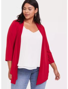 Red Studio Knit Drape Front Cardigan by Torrid