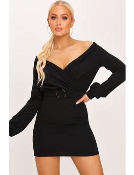Black Bardot Mini Dress With Tortiseshell Belt by I Saw It First