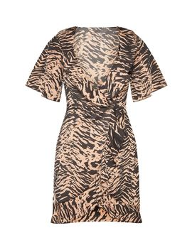 Camel Tiger Print Frill Detail Tea Dress by Prettylittlething