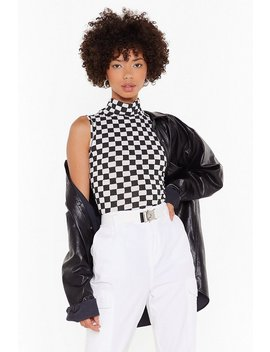Grid In To Me Checkerboard High Neck Tank Top by Nasty Gal