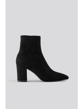 Basic Pointy Block Heel Booties Zwart by Na Kd Shoes
