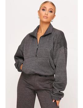 Charcoal Brush Back Half Zip Sweatshirt by I Saw It First