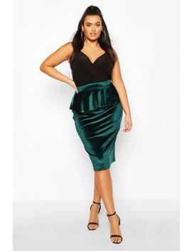 Plus Velvet Peplum Midi Skirt by Boohoo