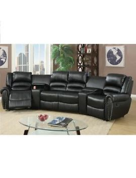 Black Bonded Leather Reclining Sofa Set Home Theater Sectional Sofa Set by Pdx