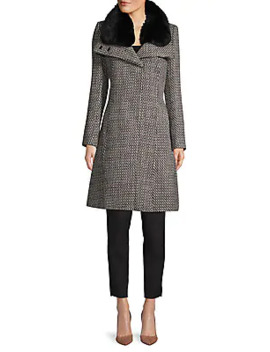 Faux Fur Trim Textured Coat by French Connection