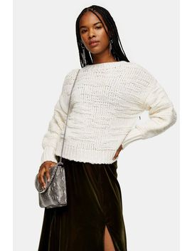 Ecru Knitted Drop Stitch Jumper by Topshop