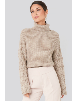 Cable Sleeve High Neck Sweater Beżowy by Na Kd Trend