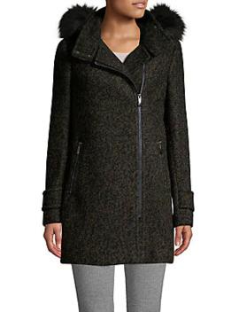 Faux Fur Hooded Wool Blend Coat by Calvin Klein