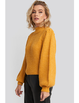 Puff Sleeve Knitted Sweater Żółty by Na Kd