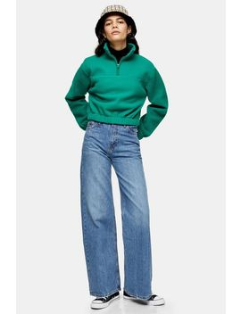 Mid Blue Wide Leg Jeans by Topshop