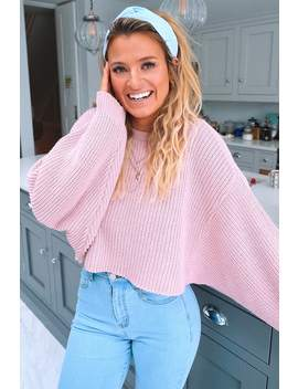 Meggan Grubb Dusky Pink Rib Knit Oversized Cropped Jumper by In The Style