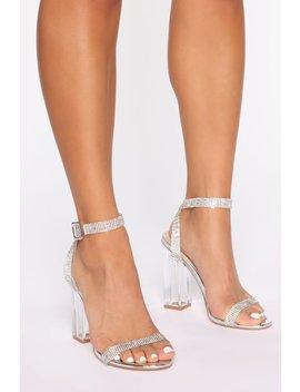 The Rhinestone Glass Slipper   Silver by Fashion Nova
