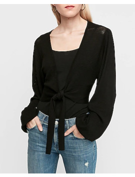 Tie Front Mesh Sweater by Express