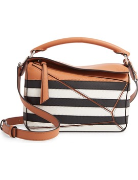 Small Puzzle Marine Stripe Leather Shoulder Bag by Loewe