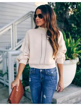 Shania Cropped Mock Neck Knit Sweater by Vici