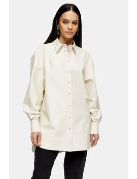 Idol White Oversized Leather Shirt by Topshop