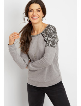 Printed Textured Shoulder Pullover by Maurices