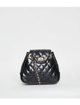 Black Patent Quilted Chain Shoulder Bag by New Look