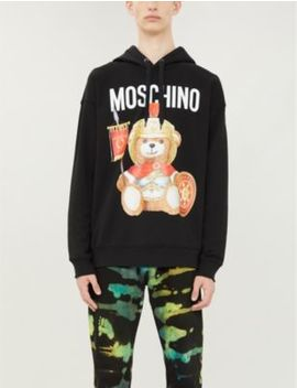 Teddy Raglan Sleeved Cotton Jersey Hoody by Moschino
