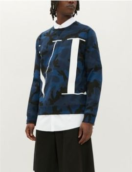 Graphic Logo Print Camouflage Cotton Blend Sweatshirt by Valentino