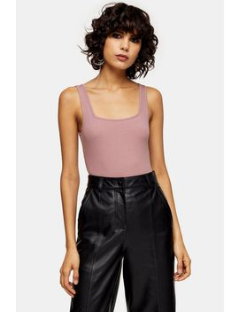 Pink Square Neck Ribbed Bodysuit by Topshop