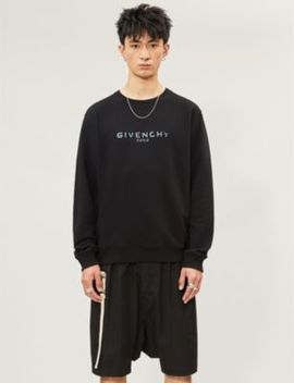 Iridescent Logo Print Cotton Jersey Sweatshirt by Givenchy