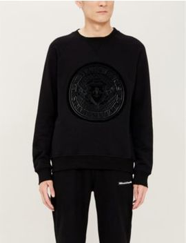 Logo Flocked Cotton Jersey Sweatshirt by Balmain