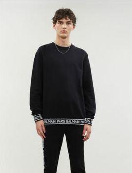 Logo Tape Cotton Jersey Sweatshirt by Balmain