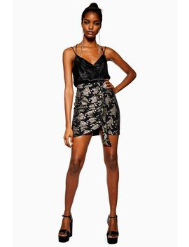 Black Ruched Foil Print Mini Skirt by Topshop