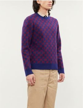 Logo Intarsia Wool Blend Knitted Jumper by Gucci