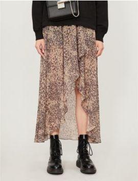 Slvina Patch Leopard Print Crepe Midi Skirt by Allsaints