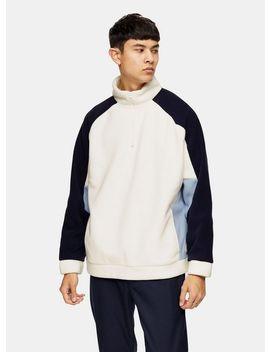 White And Navy Fleece Sweatshirt by Topman
