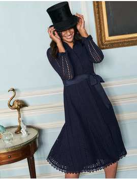 Macie Lace Shirt Dress   Navy by Boden