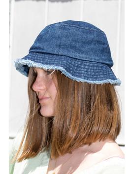 Frayed Denim Bucket Hat by Brandy Melville
