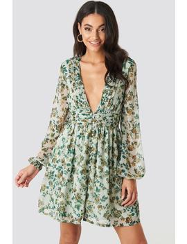 Plunge V Neck Mini Dress Zielony by Na Kd Boho