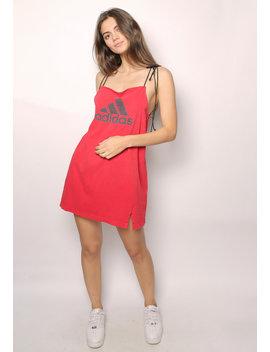 Adidas Red Tie Strap Slip Dress by Iamkoko