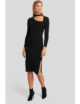 Cut Out Ribbed Midi Dress Czarny by Na Kd