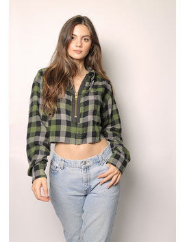 Cropped Flannel With Oversized Zipper by Iamkoko
