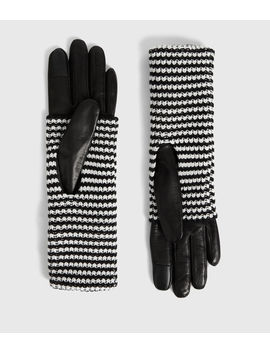 Stripe Cuff Leather Gloves by Allsaints