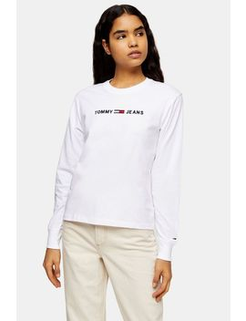 White Logo Long Sleeve Top By Tommy Jeans by Topshop