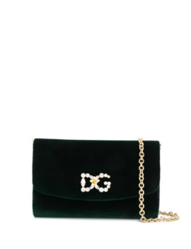 Velvet Crystal Logo Crossbody Bag by Dolce & Gabbana