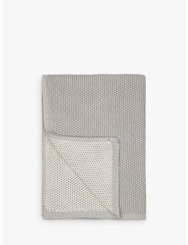 John Lewis & Partners Honeybee Cotton Knitted Throw, Smoke by John Lewis & Partners