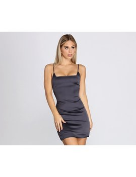 Square Neck Satin Mini Dress by Windsor