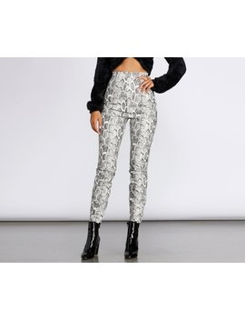 High Waist Snake Print Pu Leggings by Windsor