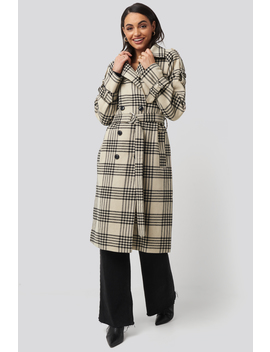 Checked Belted Coat Mehrfarbig by Na Kd Trend