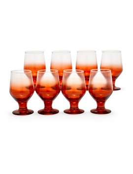 Incandescent Orange Ombre Glass Drinkware Set, 8 Piece By Drew Barrymore Flower Home by Drew Barrymore Flower Home