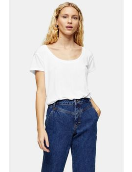 Premium White Scoop Neck Viscose T Shirt by Topshop