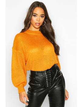 Crew Neck Balloon Sleeve Jumper by Boohoo