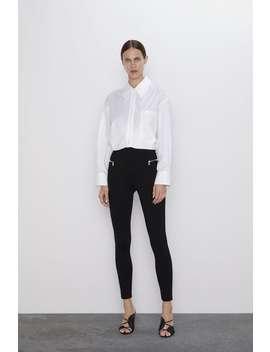 Hi Rise Leggings With Zips by Zara
